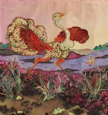 45 x 45 cm, peinture sur soie, 1986