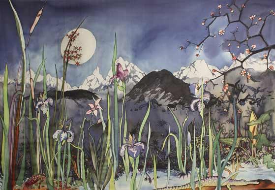 140 x 90 cm, peinture sur soie, 1986